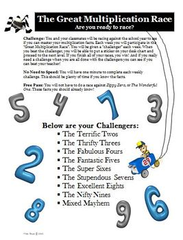 Multiplication Facts Practice Race Activity