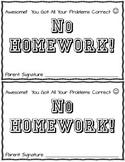 Multiplication Practice Test Award-No Homework