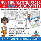 Multiplication Practice & USA States & Capitals- Math and