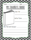 My Favorite Book Worksheet