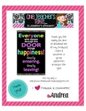 Neon Bright Subway Art Poster for Classroom Door