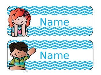 Neon Chevron Editable Nametags/ Deskplates