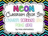Neon Classroom Decor Set {Chevron, Scribbles and Polka Dots}