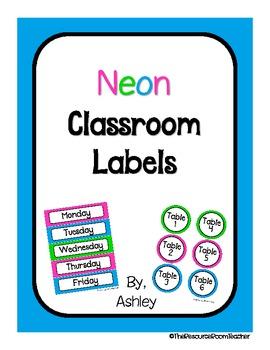 Neon Classroom Labels