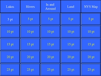 New York State Geography Jeopardy