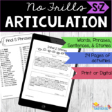 No Frills Articulation - S and Z (words, phrases, sentence