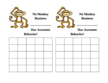 No Monkey Business Behavior Chart