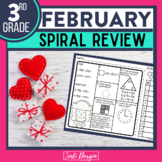 No Prep FEBRUARY MATH Spiral Review for 3RD GRADE