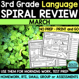 No Prep MARCH LANGUAGE Spiral Review for 3RD GRADE