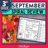No Prep SEPTEMBER MATH Spiral Review for 3RD GRADE