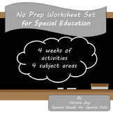 No Prep Worksheet Set 1 for Special Education