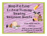 Non-Fiction: Critical thinking response sheets