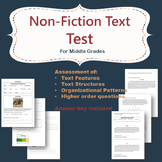Non Fiction text test- assessment of text features and structure