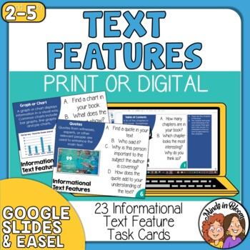 Nonfiction Text Features Task Cards for Informational Text & Close Reading!