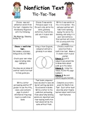 Nonfiction Text Tic Tac Toe Literacy Center