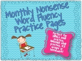 Nonsense Word Fluency Monthly Practice Pages {Perfect for