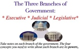 Notes and Study Guide for the Three Branches of Government