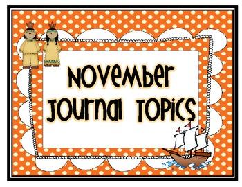 November Journal Topics for Kindergarten Level Guided Writing
