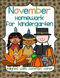 November Kindergarten Common Core Homework