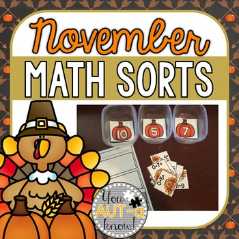 November Math Sorts - CCSS Aligned for Grades K-2