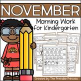 November Morning Work for Kindergarten {Common Core Aligned}