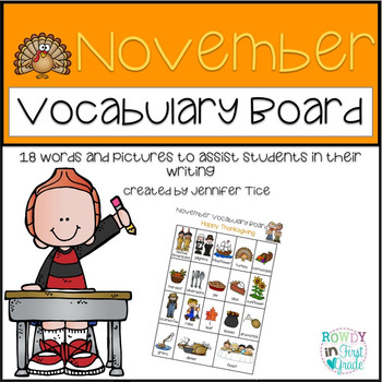 November Thanksgiving Vocabulary Board