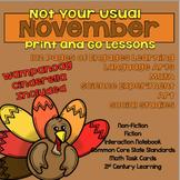 No Prep November Literacy, STEM and Social Studies -- Common Core
