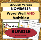 November Word Wall Cards AND Ready Activities!  English Version