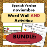 November Word Wall Cards AND Ready Activities!  Spanish