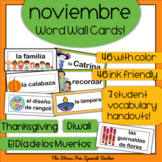 November Word Wall Cards: Spanish