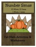 Number Sense:  10 more, 10 less, 1 more, 1 less