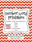 Number Word Printables: Zero to Twenty