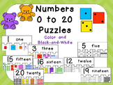 Numbers 0 to 20 Puzzles- Preschool or Kindergarten