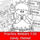 Numbers 1-20 Practice Pages with sweet candy theme: {Commo