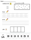 Numbers 11-20 printable worksheets -find, write, trace and glue!