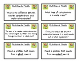 Nutrition Flashcards Review/Game & Answer Key