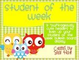 OWL Student of the Week Bulletin Board Display Gingham