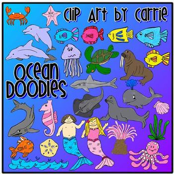 Ocean Doodles clip art (color PNG files)