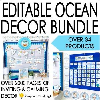 Ocean Theme Classroom Decor Mega Pack - Editable!