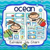 Ocean Theme Classroom Job Chart (Editable)