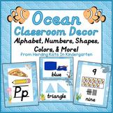 Ocean Themed Classroom Poster Bundle with D'Nealian Font