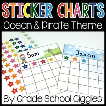 Ocean and Pirate Themed Sticker Charts