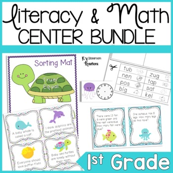 Ocean/Beach Themed Reading & Math Centers (K-2)