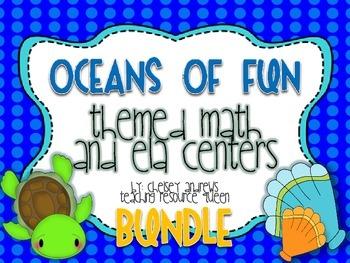 Oceans of Fun~ Themed Math and ELA Center BUNDLE
