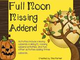 October Full Moon Missing Addend Math Center Activity