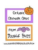 October / Halloween * FREE * Calendar Cards