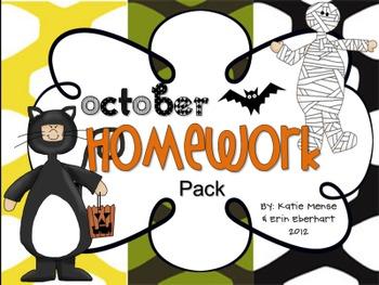 October Homework Pack for Kindergarten
