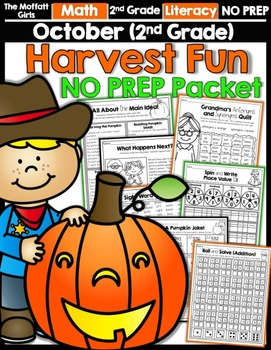 October NO PREP Math and Literacy (2nd Grade)