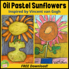 Oil Pastel Sunflowers Inspired by Vincent Van Gogh