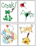 Onomatopoeia visual cards, poem, worksheet